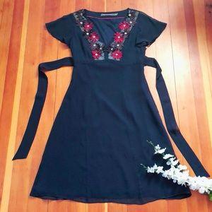 Boden Limited Edition 100% Silk Navy Boho Dress